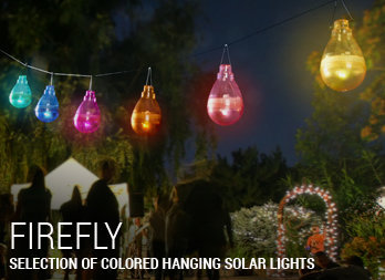 Selection of coloured hanging solar lights